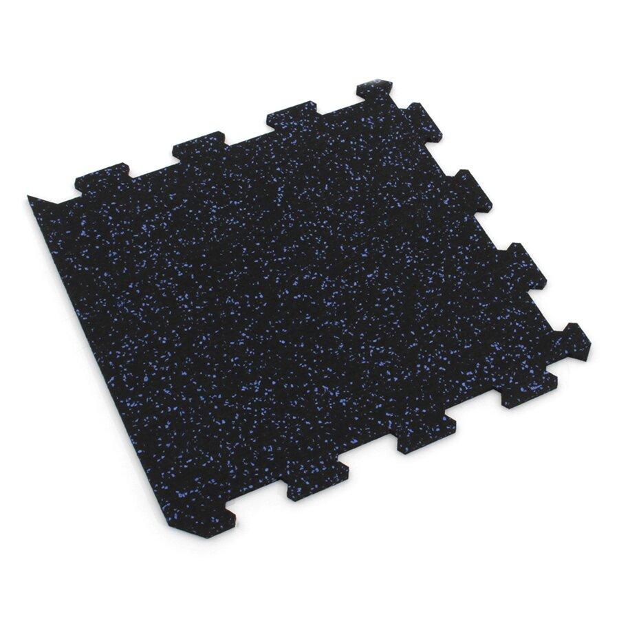 Černo-modrá gumová modulová puzzle dlažba (okraj) FLOMA IceFlo SF1100 - délka 95,6 cm, šířka 95,6 cm a výška 0,8 cm