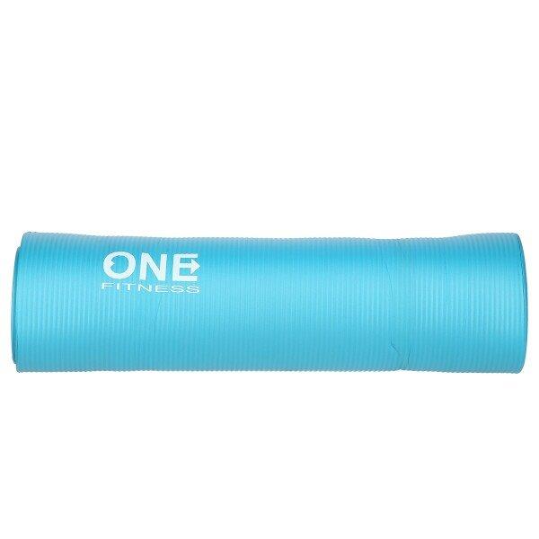 Modrá podložka na jógu ONE FITNESS - délka 183 cm, šířka 61 cm a výška 1 cm