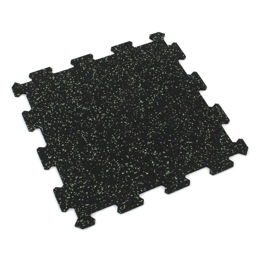 Černo-zelená gumová modulová puzzle dlažba (střed) FLOMA IceFlo SF1100 - délka 95,6 cm, šířka 95,6 cm a výška 0,8 cm