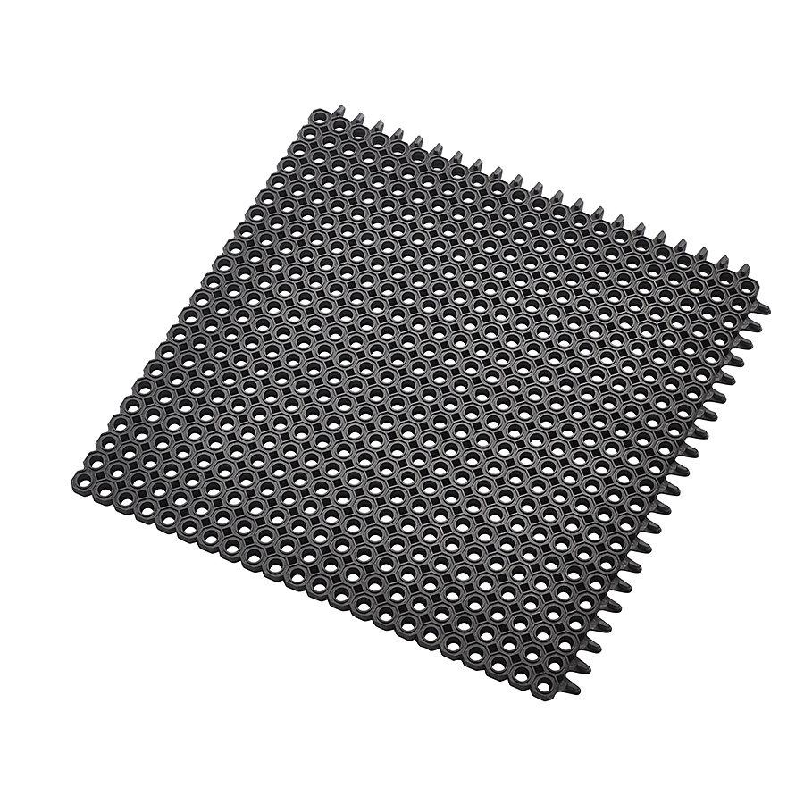 Černá gumová vstupní čistící modulární rohož Master Flex, D12, Nitrile FR - délka 50 cm, šířka 50 cm a výška 1,2 cm