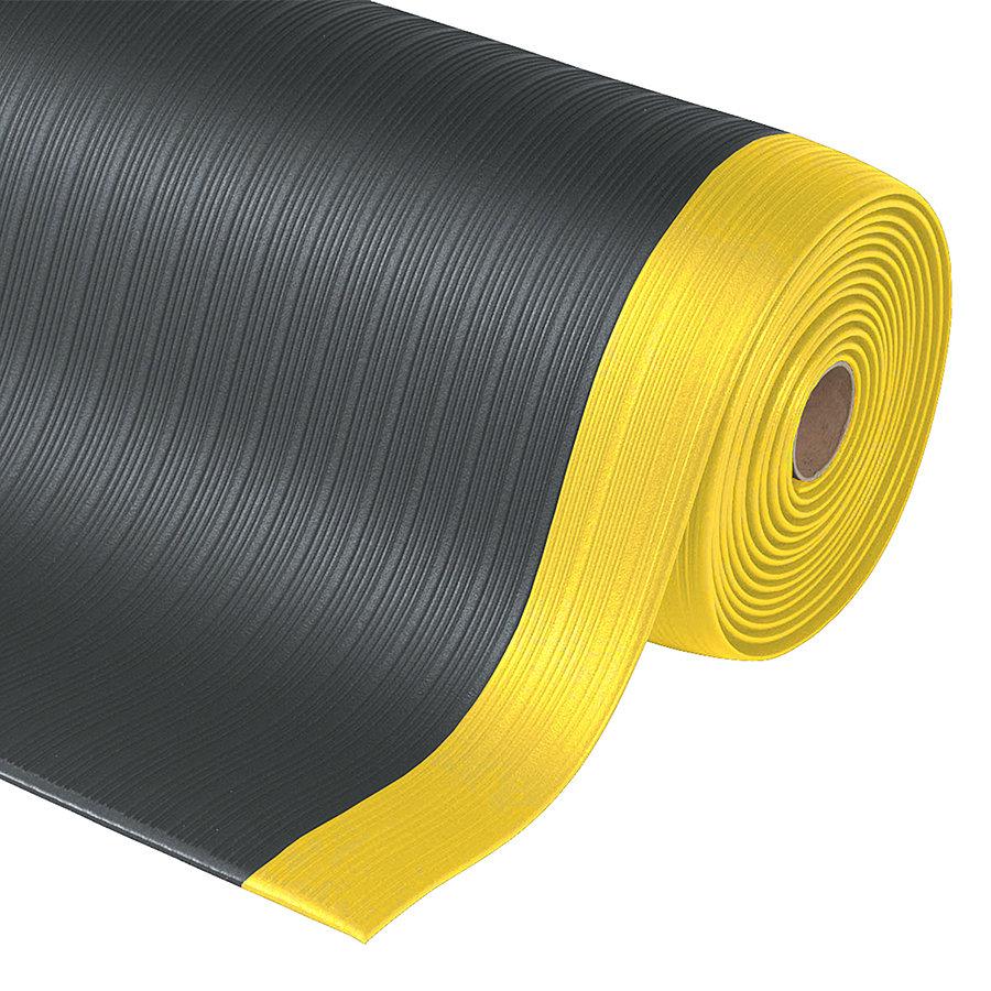 Černo-žlutá protiúnavová průmyslová rohož Plus, Airug - výška 0,94 cm