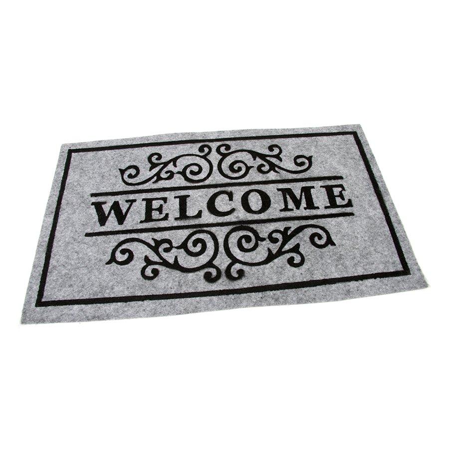 Šedá textilní vstupní čistící vnitřní rohož Welcome - Deco, FLOMAT - délka 45 cm, šířka 75 cm a výška 0,3 cm