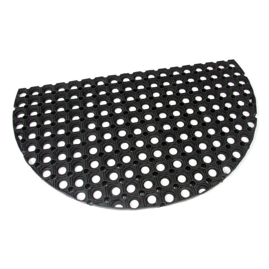 Gumová vstupní venkovní čistící půlkruhová rohož Honeycomb, FLOMA - délka 45 cm, šířka 75 cm a výška 2,2 cm