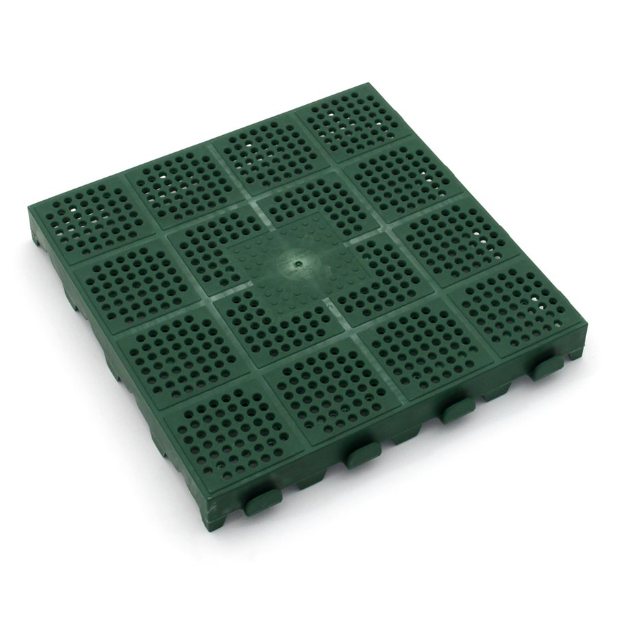 Zelená plastová děrovaná terasová dlažba Linea Combi - délka 40 cm, šířka 40 cm a výška 4,8 cm