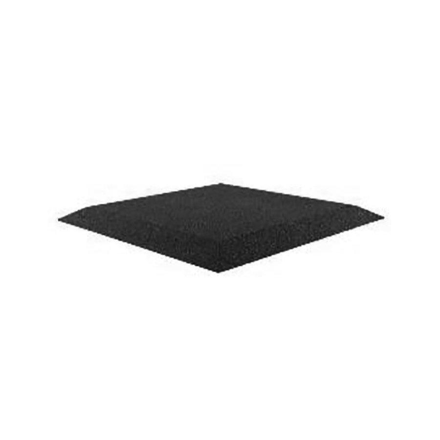 Černá gumová krajová dopadová dlaždice (V30/R00) (roh) FLOMA - délka 50 cm, šířka 50 cm a výška 3 cm
