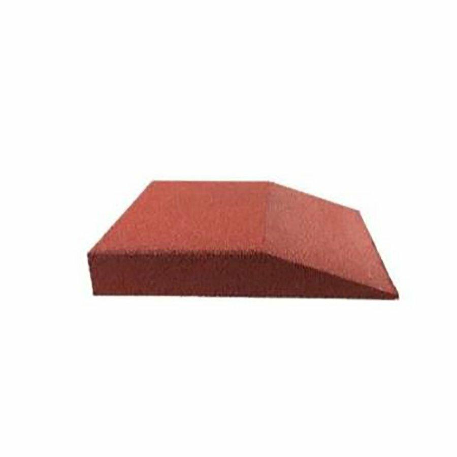 Červená gumová krajová hladká dlažba (V65/R00) FLOMA - délka 50 cm, šířka 50 cm a výška 6,5 cm