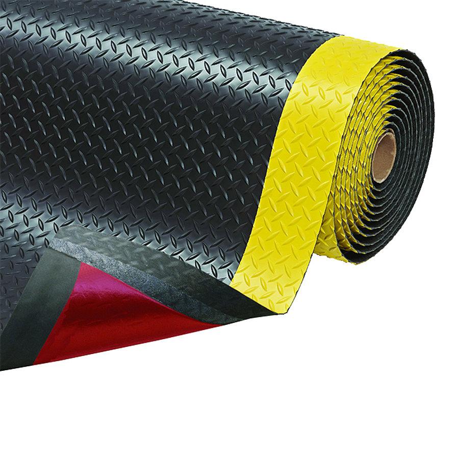 Černo-žlutá protiúnavová průmyslová laminovaná rohož Saddle Trax - šířka 122 cm a výška 2,54 cm