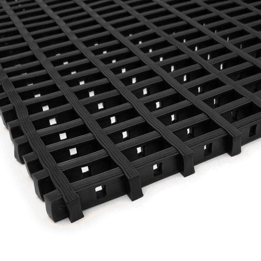Černá olejivzdorná protiskluzová průmyslová univerzální rohož (mřížka 22 x 10 mm) - výška 1,2 cm