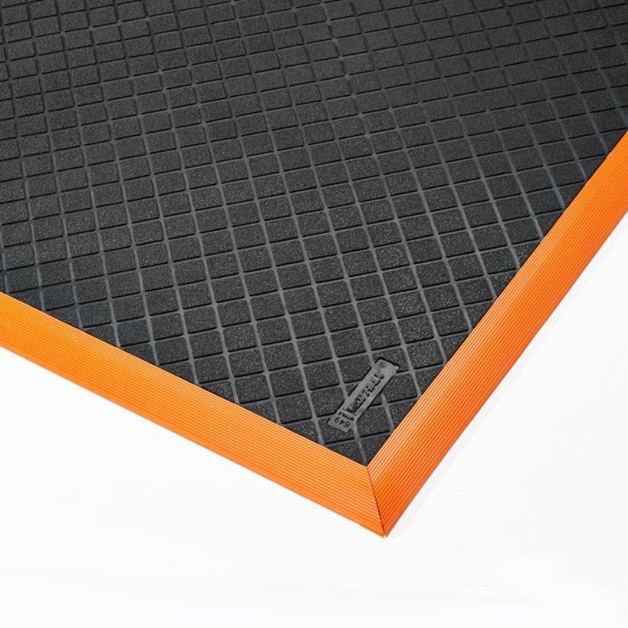Černo-oranžová extra odolná průmyslová olejivzdorná rohož Safety Stance Solid - délka 102 cm, šířka 66 cm a výška 2 cm