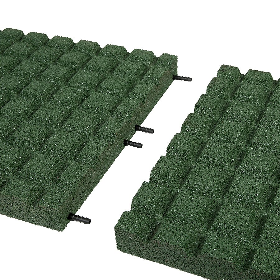 Zelená gumová dopadová dlaždice (V55/R15) FLOMA - délka 50 cm, šířka 50 cm a výška 5,5 cm