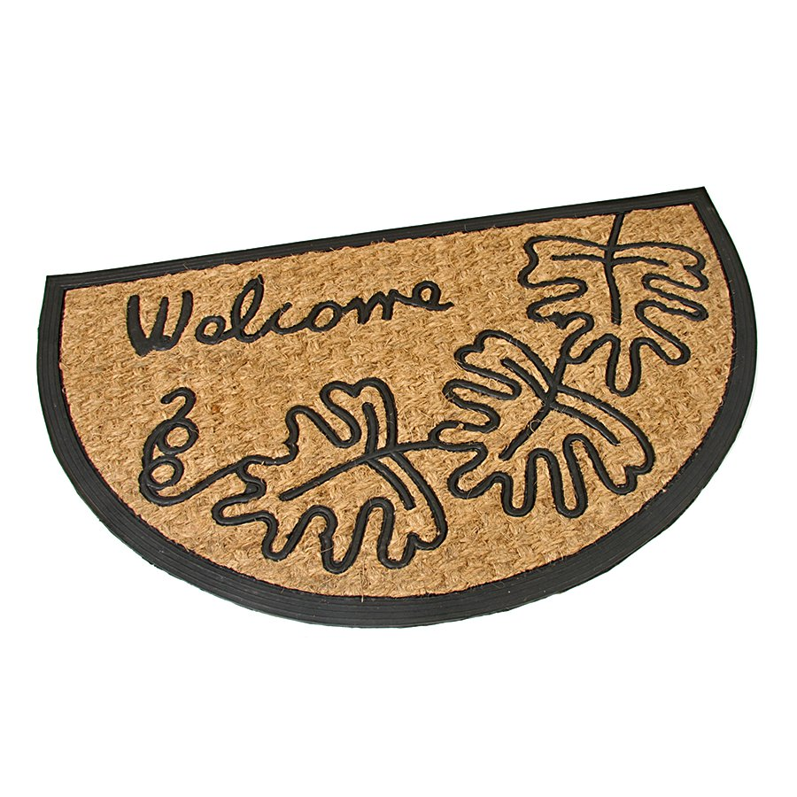 Kokosová čistící venkovní půlkruhová vstupní rohož FLOMA Oak Leaves - délka 45 cm, šířka 75 cm a výška 0,8 cm