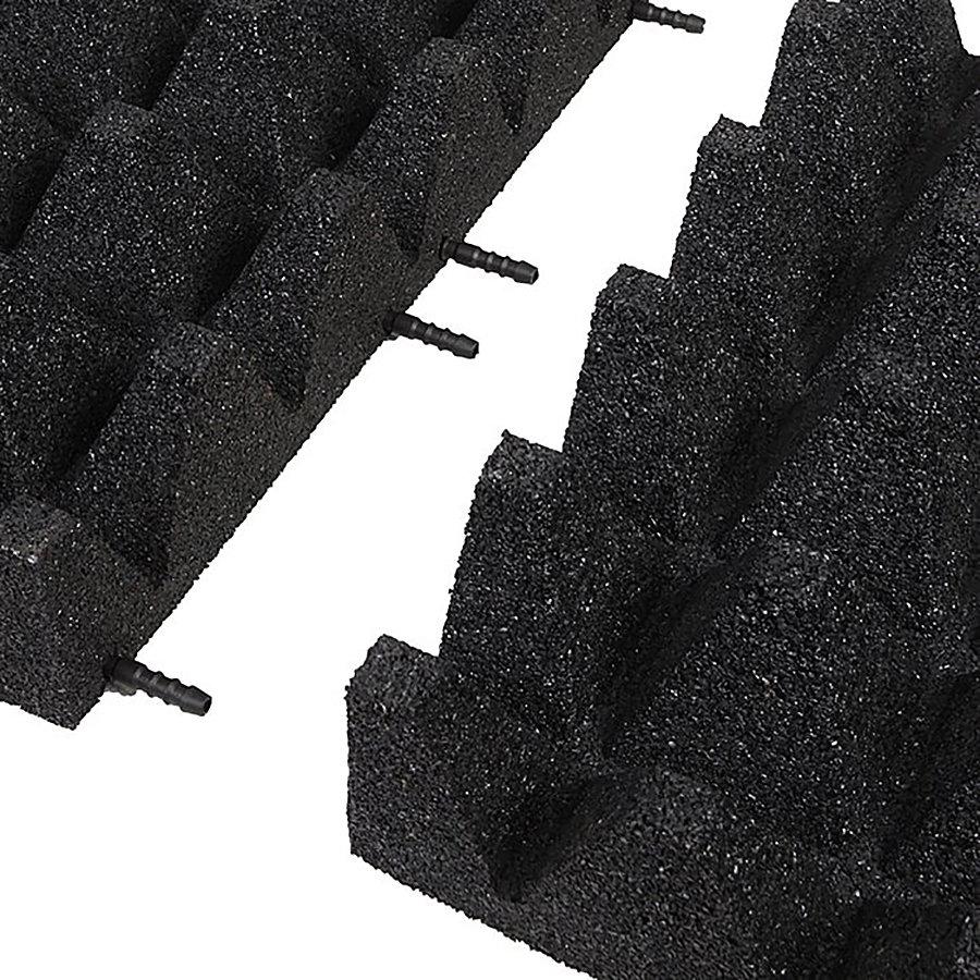 Černá gumová krajová dopadová dlaždice (V100/R75) FLOMA - délka 50 cm, šířka 25 cm a výška 10 cm