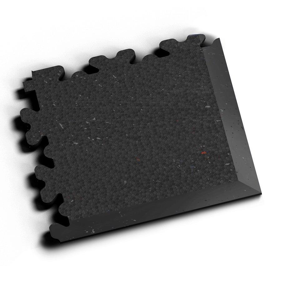 Černý vinylový plastový zátěžový rohový nájezd Fortelock XL Eco 2230 (hadí kůže) - délka 14,5 cm, šířka 14,5 cm a výška 0,4 cm