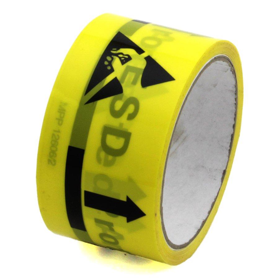 "Žlutá antistatická ESD páska ""ESD PROTECTED AREA"" - délka 18 m a šířka 5 cm"