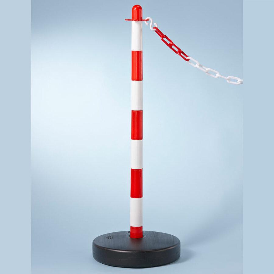 Bílo-červený plastový vymezovací sloupek - průměr 3,9 cm a výška 90 cm