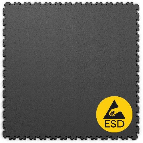 Grafitová vinylová plastová zátěžová dlaždice Fortelock XL ESD 2230 (hadí kůže) - délka 65,3 cm, šířka 65,3 cm a výška 0,4 cm