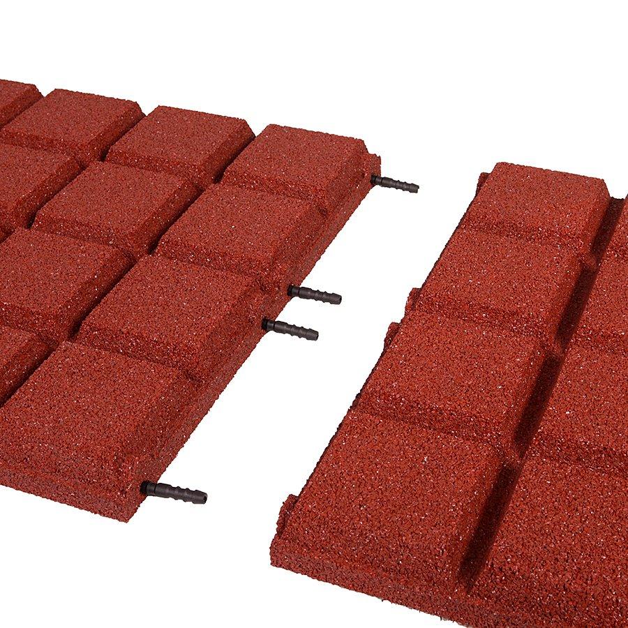 Červená gumová dlaždice (V45/R25BIG) - délka 50 cm, šířka 50 cm a výška 4,5 cm