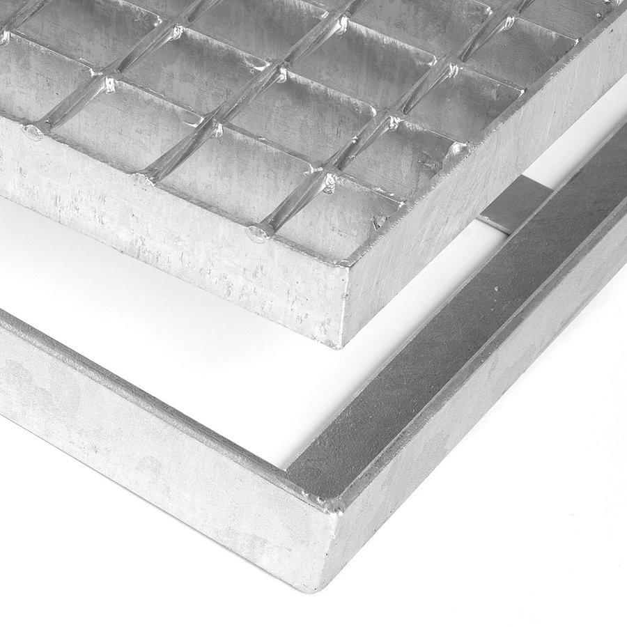 Kovová ocelová čistící venkovní vstupní rohož ze svařovaných podlahových roštů bez gumy s pracnami Galva, FLOMA - výška 3,5 cm