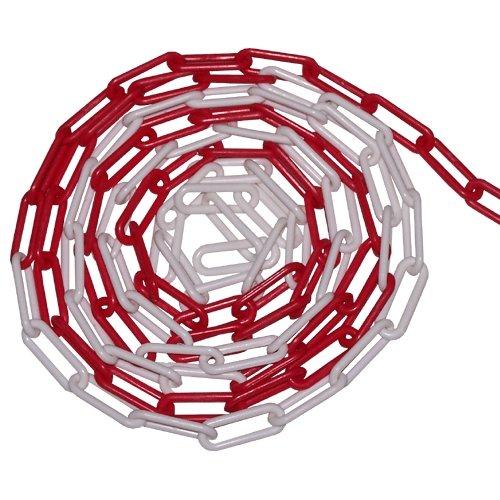 Bílo-červený plastový označovací řetěz - délka 30 m
