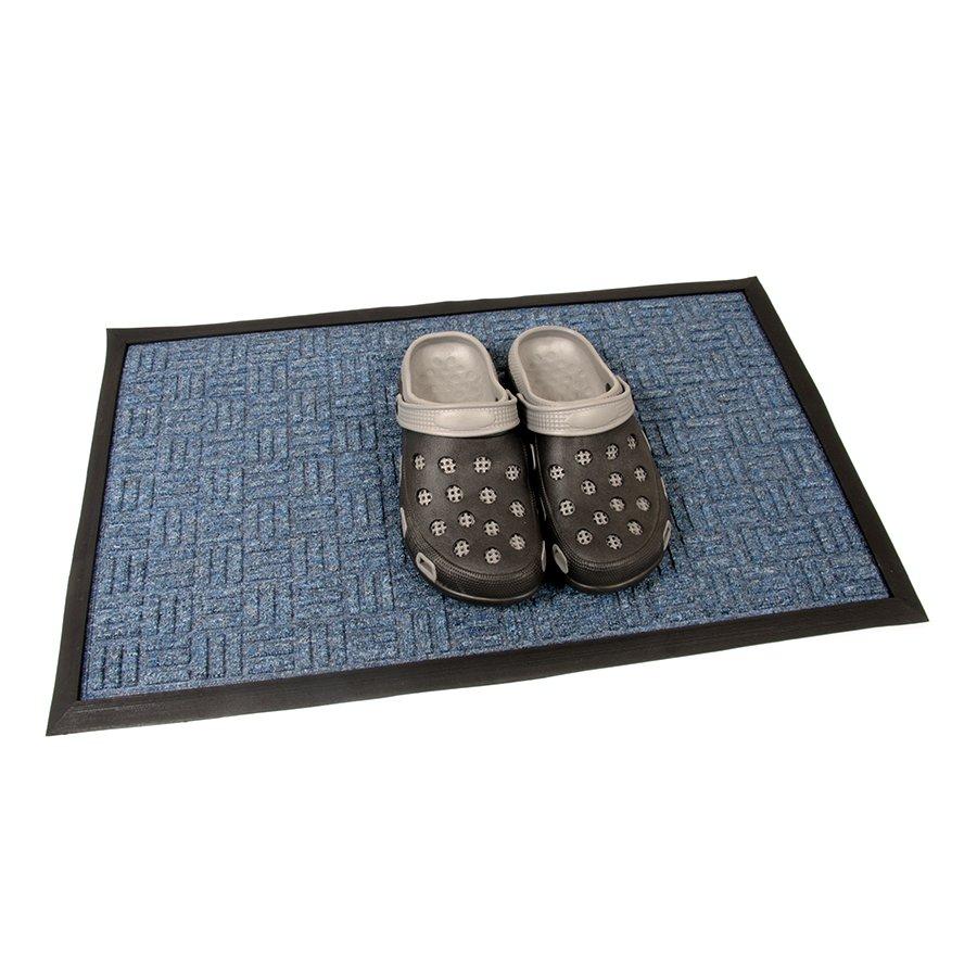 Modrá textilní vstupní venkovní čistící rohož FLOMA Criss Cross - délka 45 cm, šířka 75 cm a výška 1 cm