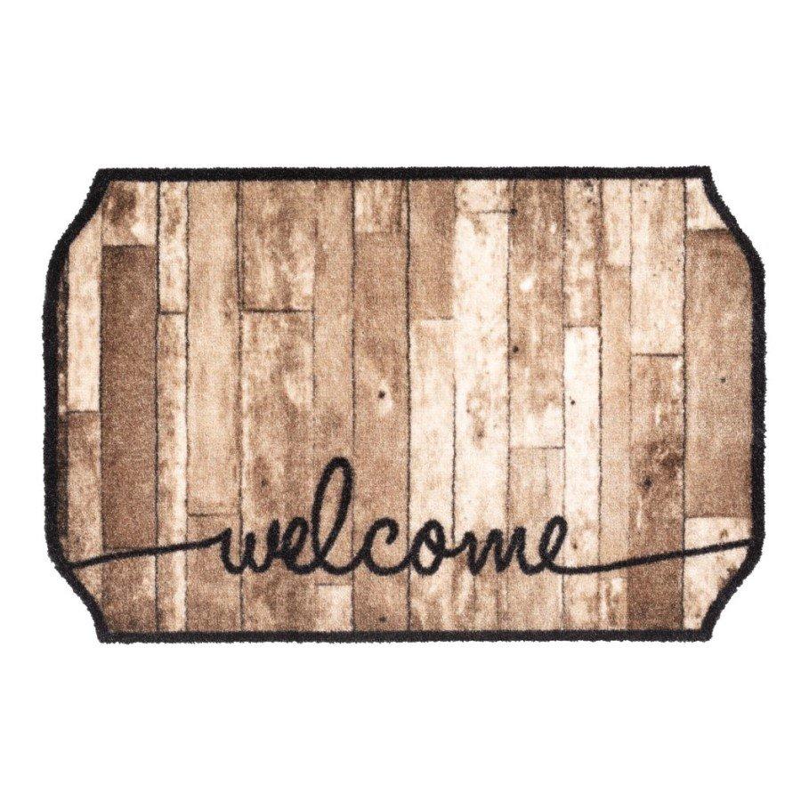Vnitřní čistící pratelná vstupní rohož FLOMA Prestige Welcome wood octagon - délka 50 cm a šířka 75 cm