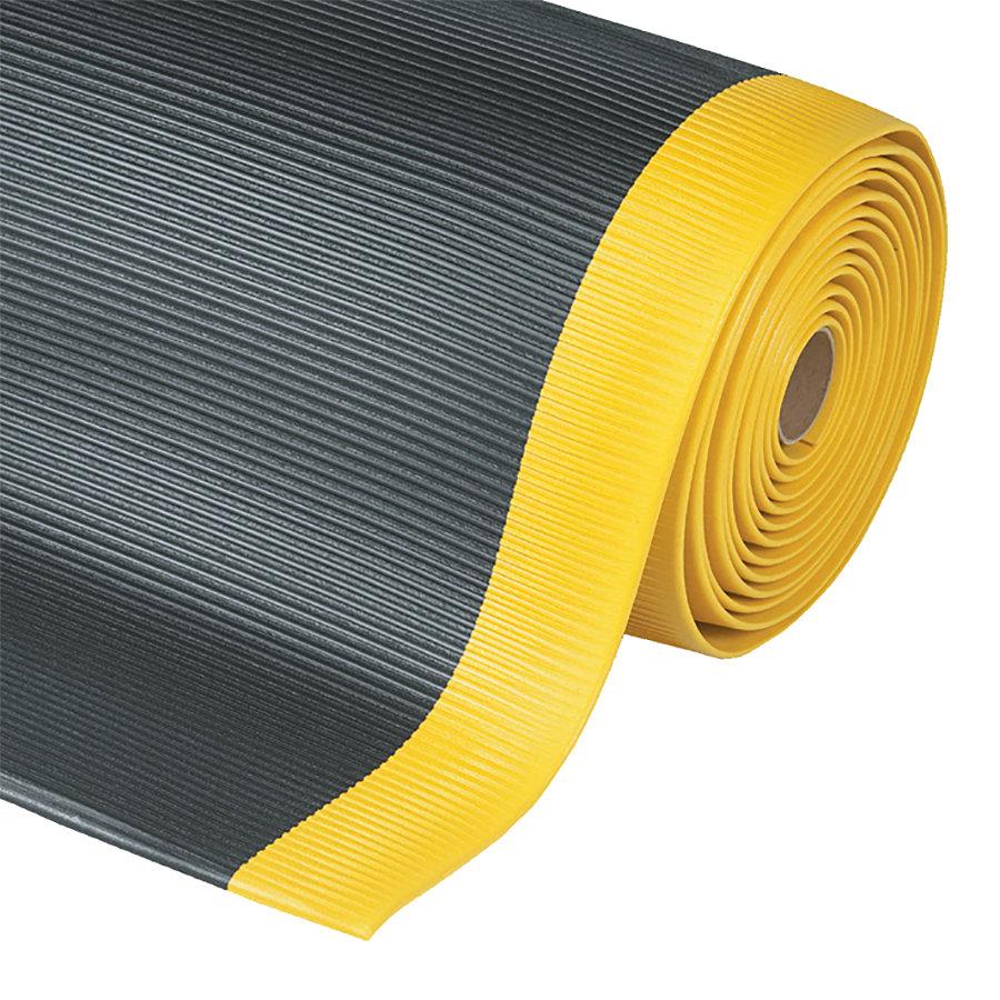 Černo-žlutá metrážová protiúnavová průmyslová rohož Sof-Tred, Crossrib - délka 1 cm a výška 1,27 cm