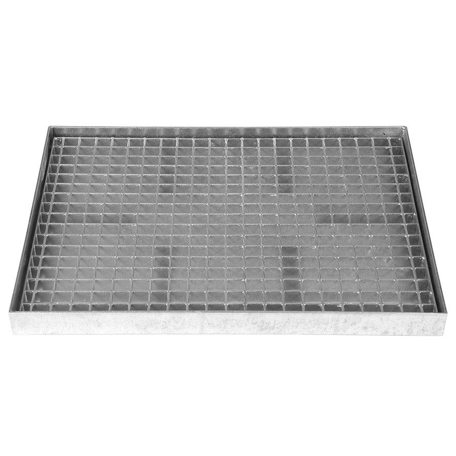 Ocelová kovová čistící venkovní vstupní rohož s pracnami s gumou ze svařovaných podlahových roštů Galva, FLOMA - délka 43 cm, šířka 51,5 cm a výška 6 cm