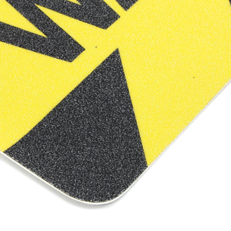 Černo-žlutá korundová protiskluzová páska s potiskem (pás) FLOMA Printed - délka 15 cm a šířka 61 cm