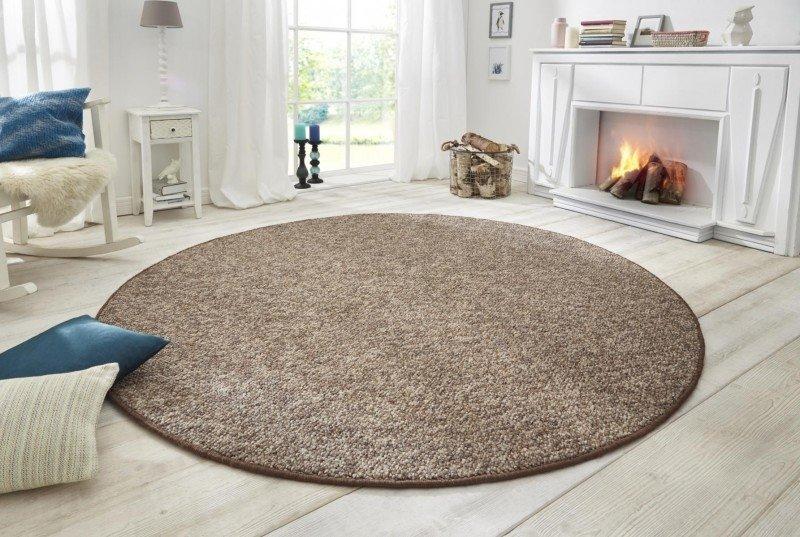Hnědý kusový moderní kulatý koberec Wolly