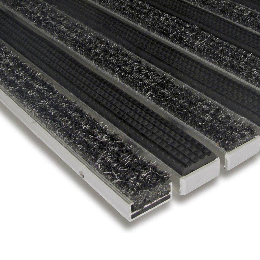 Textilní gumová hliníková vnitřní vstupní rohož Alu Standard, FLOMAT (Bfl-S1) - délka 1 cm, šířka 1 cm a výška 1,7 cm
