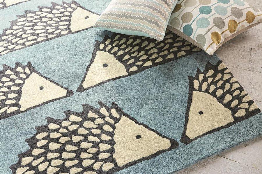 Světle modrý moderní kusový koberec Spike - délka 150 cm a šířka 90 cm