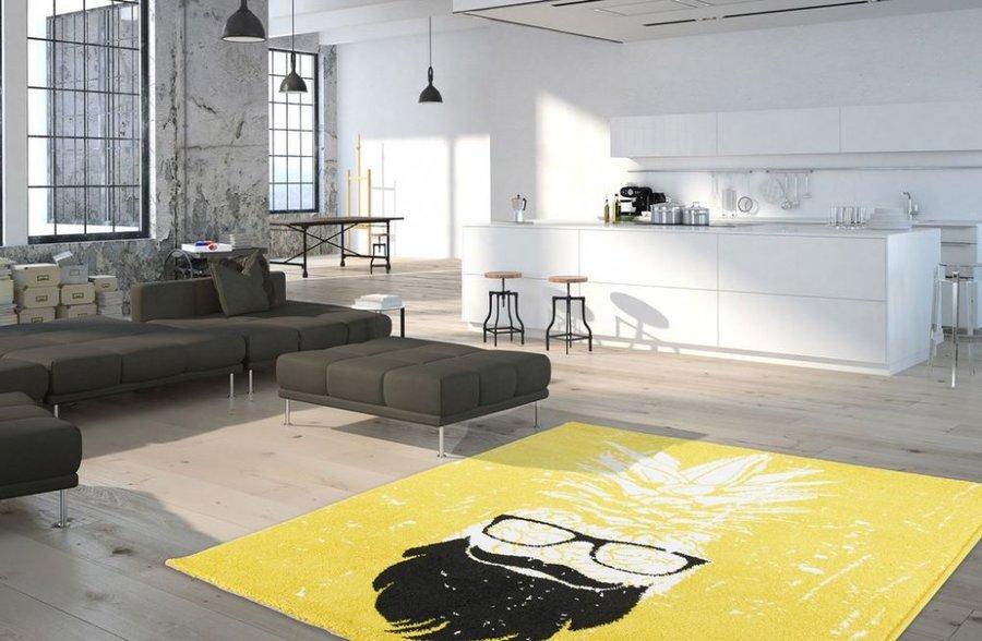 Žlutý kusový moderní koberec Hipster - délka 170 cm a šířka 120 cm