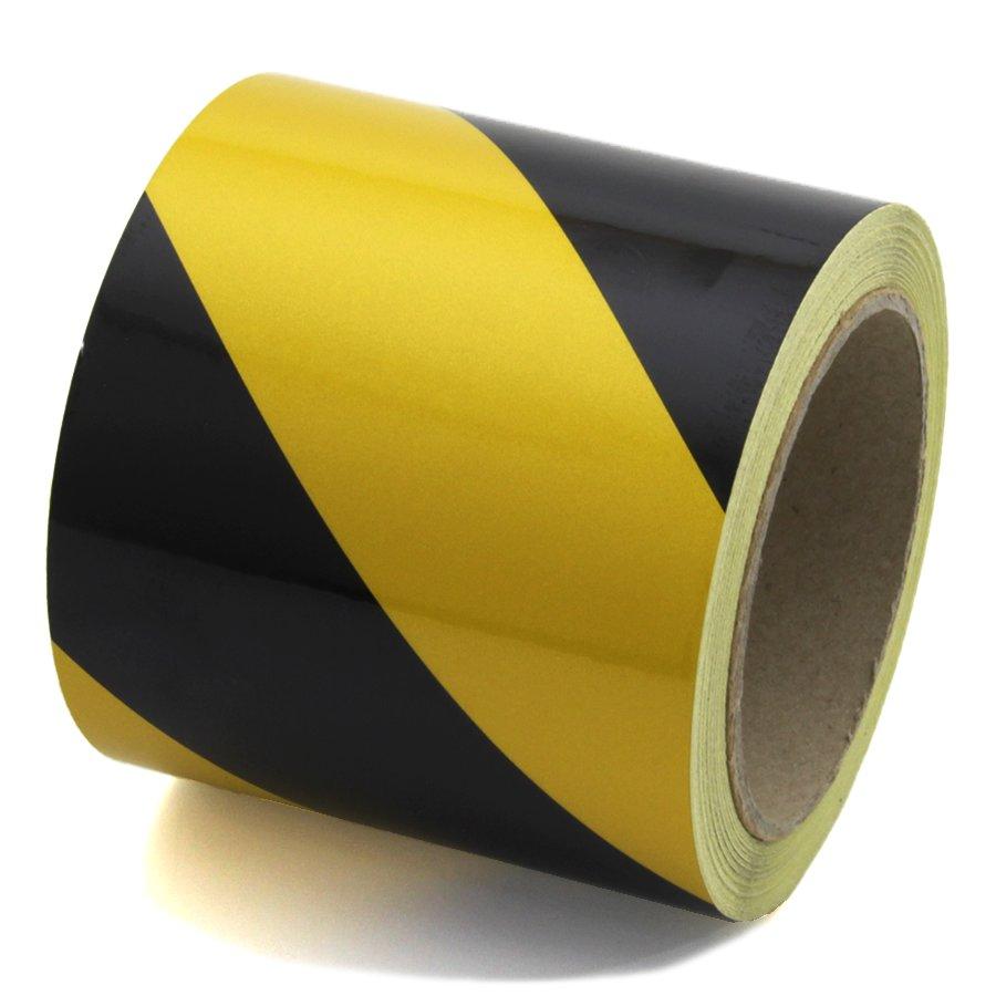 Černo-žlutá pravá reflexní výstražná páska - délka 15 m a šířka 10 cm
