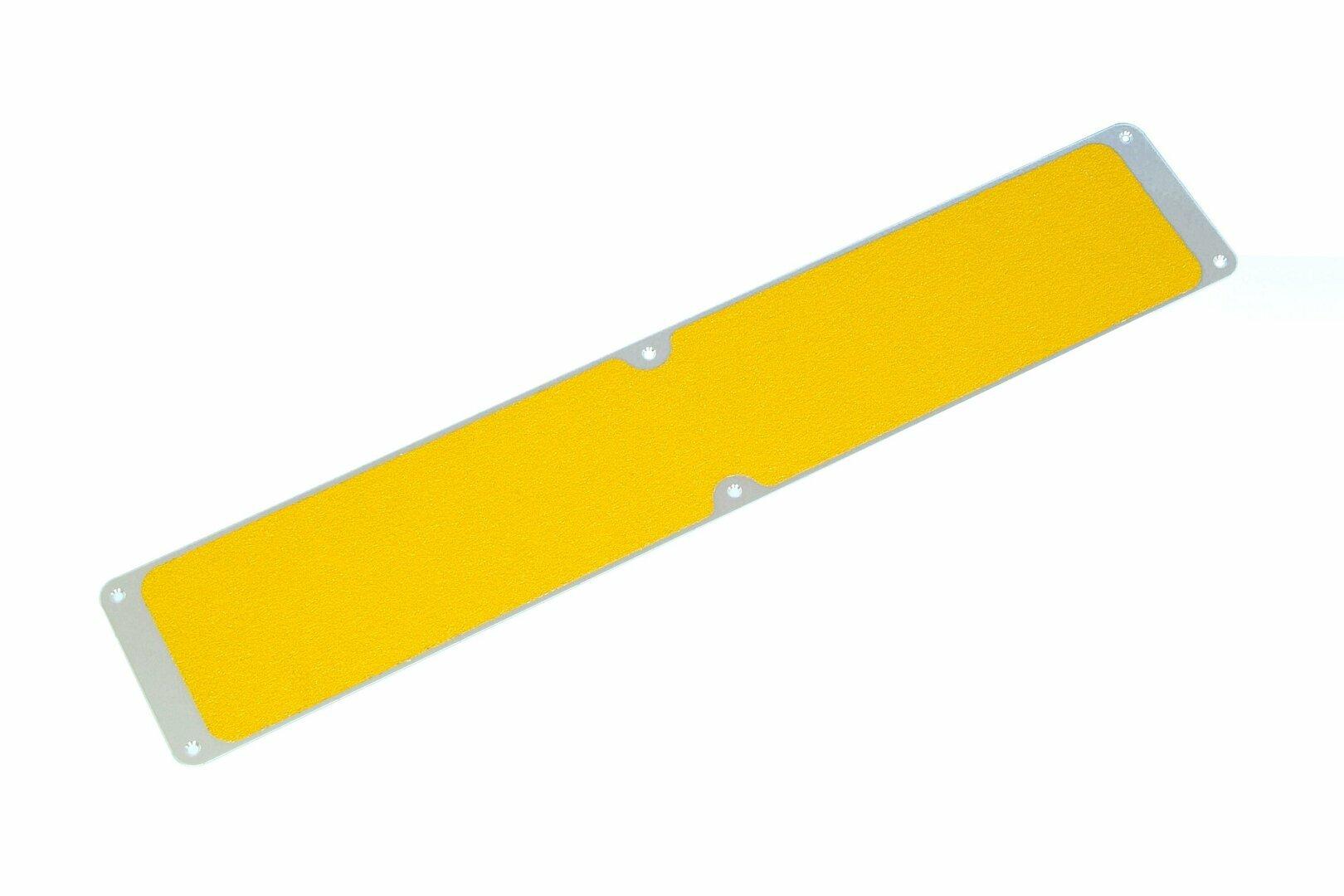 Žlutý hliníkový protiskluzový nášlap na schody FLOMA Bolt Down Plate - délka 63,5 cm a šířka 11,5 cm