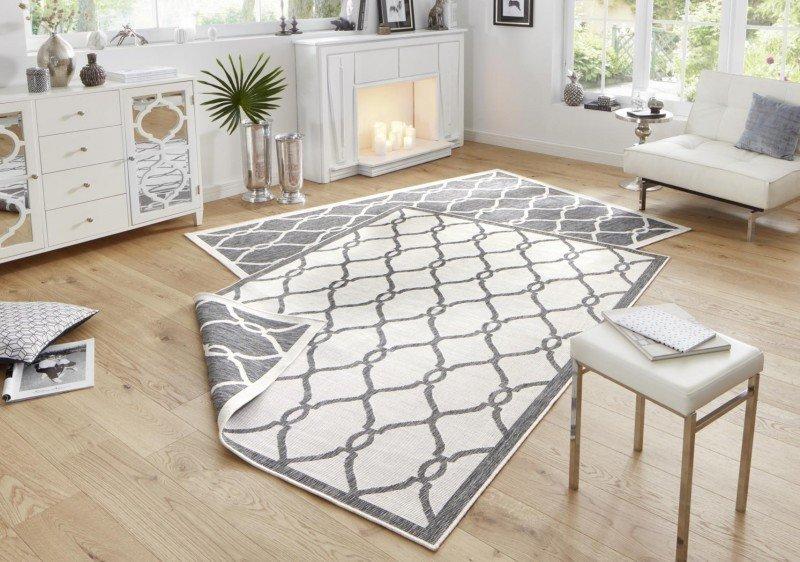Šedý moderní oboustranný kusový koberec Twin-Wendeteppiche - délka 230 cm a šířka 160 cm