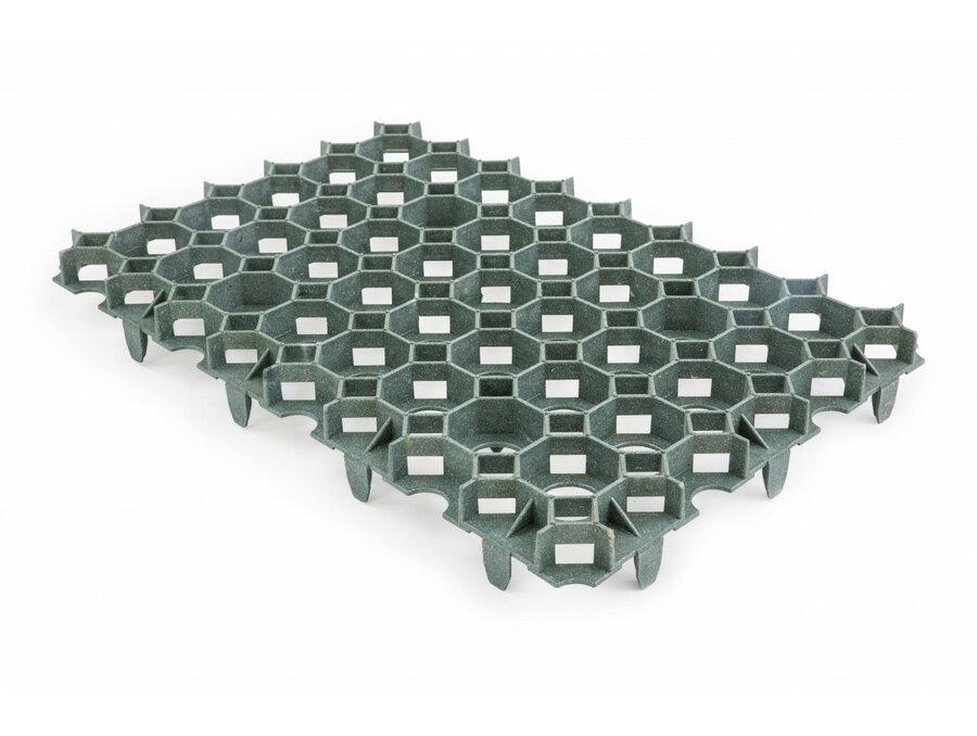 Zelená plastová zatravňovací dlažba - délka 56 cm, šířka 38 cm a výška 5,4 cm