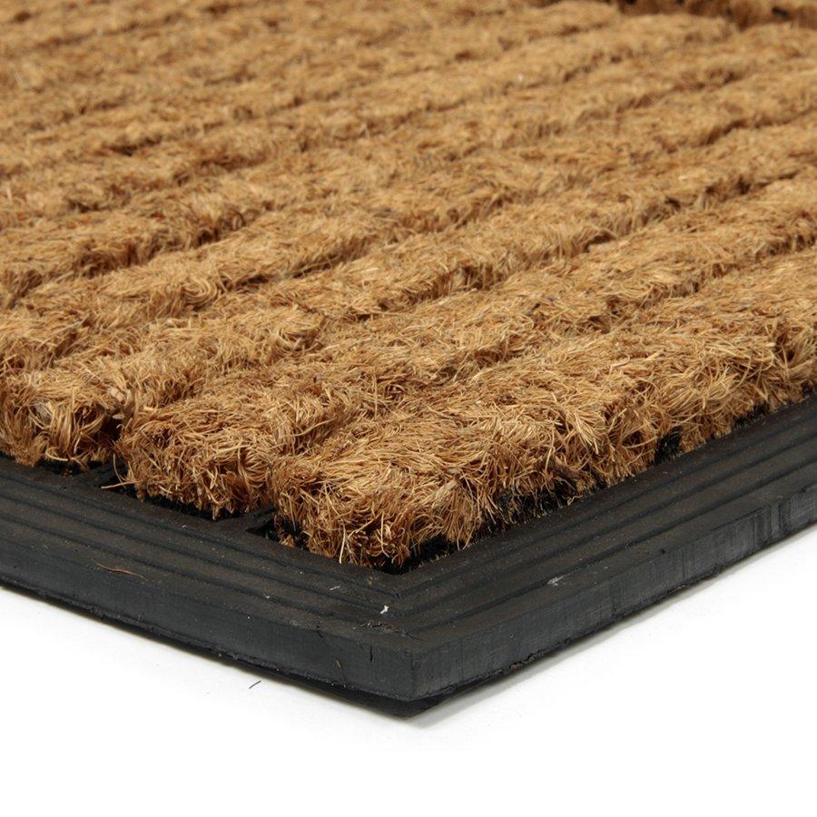 Kokosová čistící venkovní vstupní rohož FLOMA Stripes - Rectangle - délka 45 cm, šířka 75 cm a výška 2,3 cm