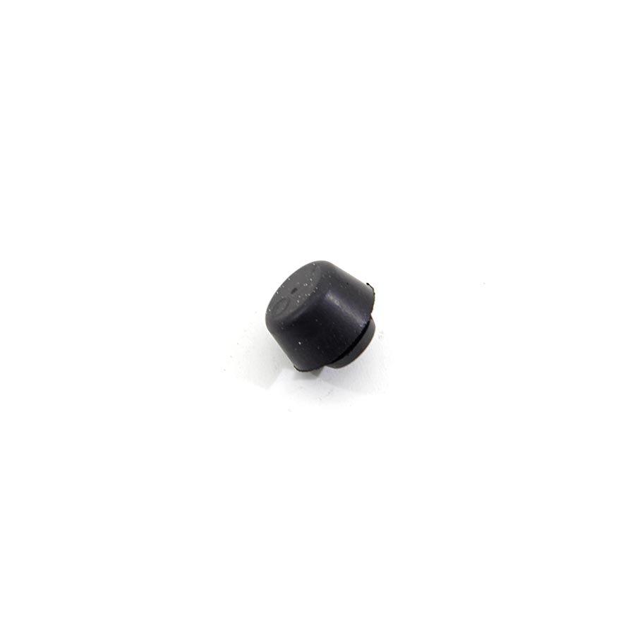 Černý pryžový doraz nástrčný do díry FLOXO - průměr 1,7 cm, výška 0,9 cm a výška krku 0,2 cm