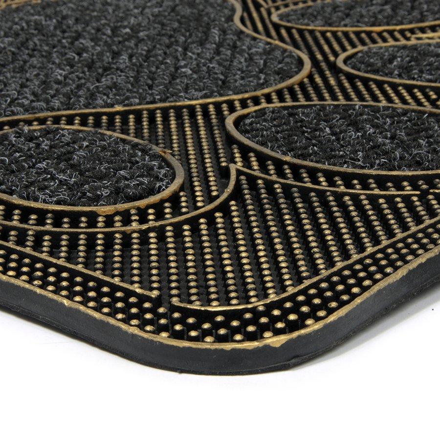 Textilní gumová čistící venkovní vstupní rohož FLOMA Wipe Your Paws - délka 45 cm, šířka 75 cm a výška 1 cm