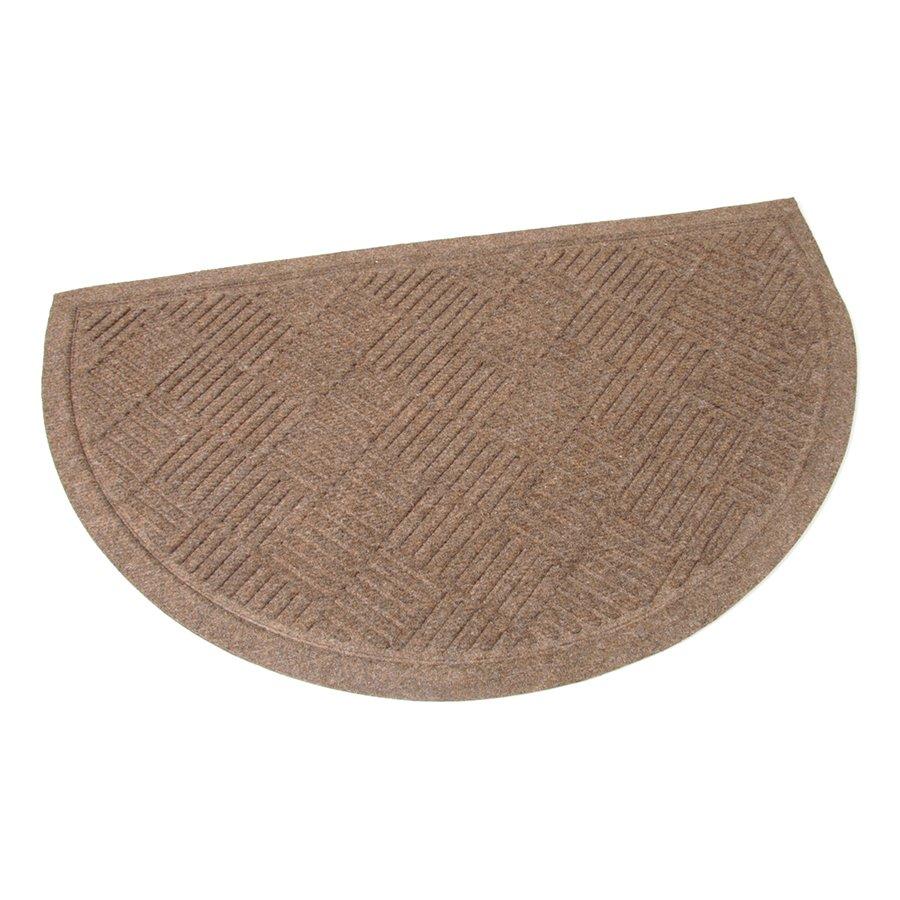 Hnědá textilní vstupní venkovní čistící půlkruhová rohož Crossing Lines, FLOMA - délka 45 cm, šířka 75 cm a výška 0,8 cm