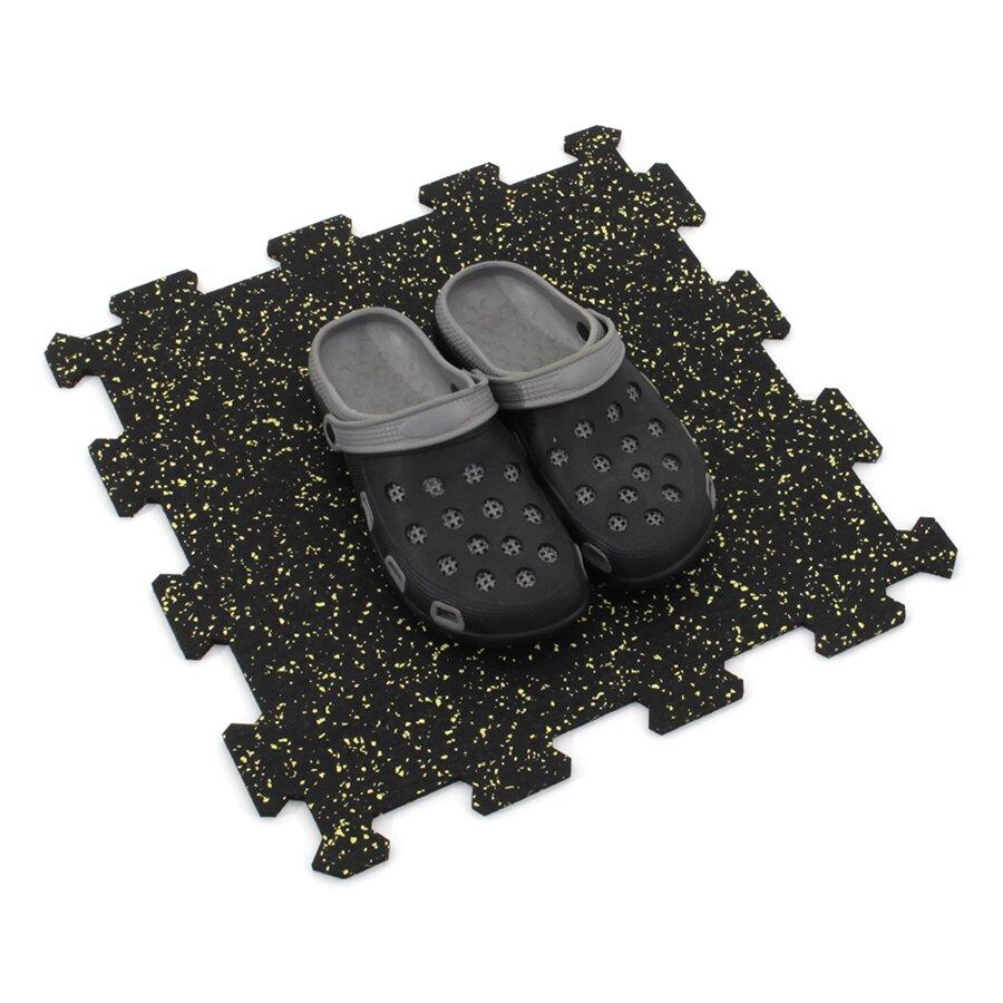 Černo-žlutá gumová modulová puzzle dlažba (střed) FLOMA IceFlo SF1100 - délka 47,8 cm, šířka 47,8 cm a výška 0,8 cm