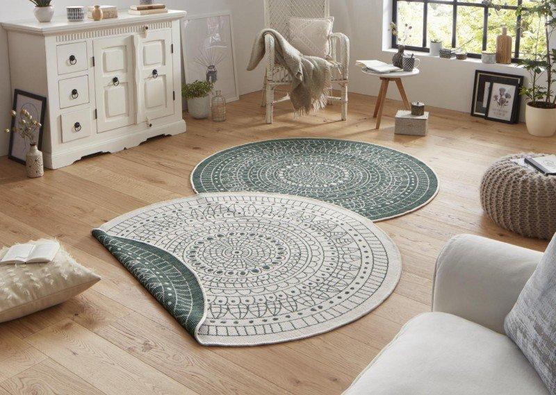 Různobarevný kusový oboustranný moderní kulatý koberec Twin-Wendeteppiche