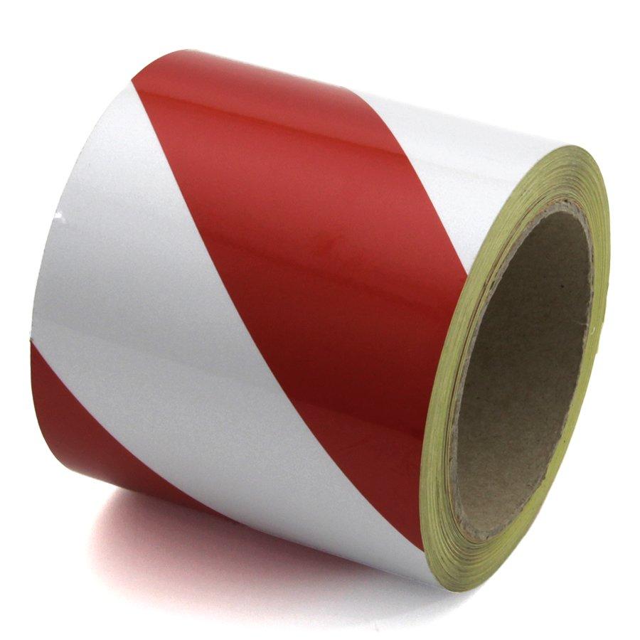 Bílo-červená pravá reflexní výstražná páska - délka 15 m a šířka 10 cm