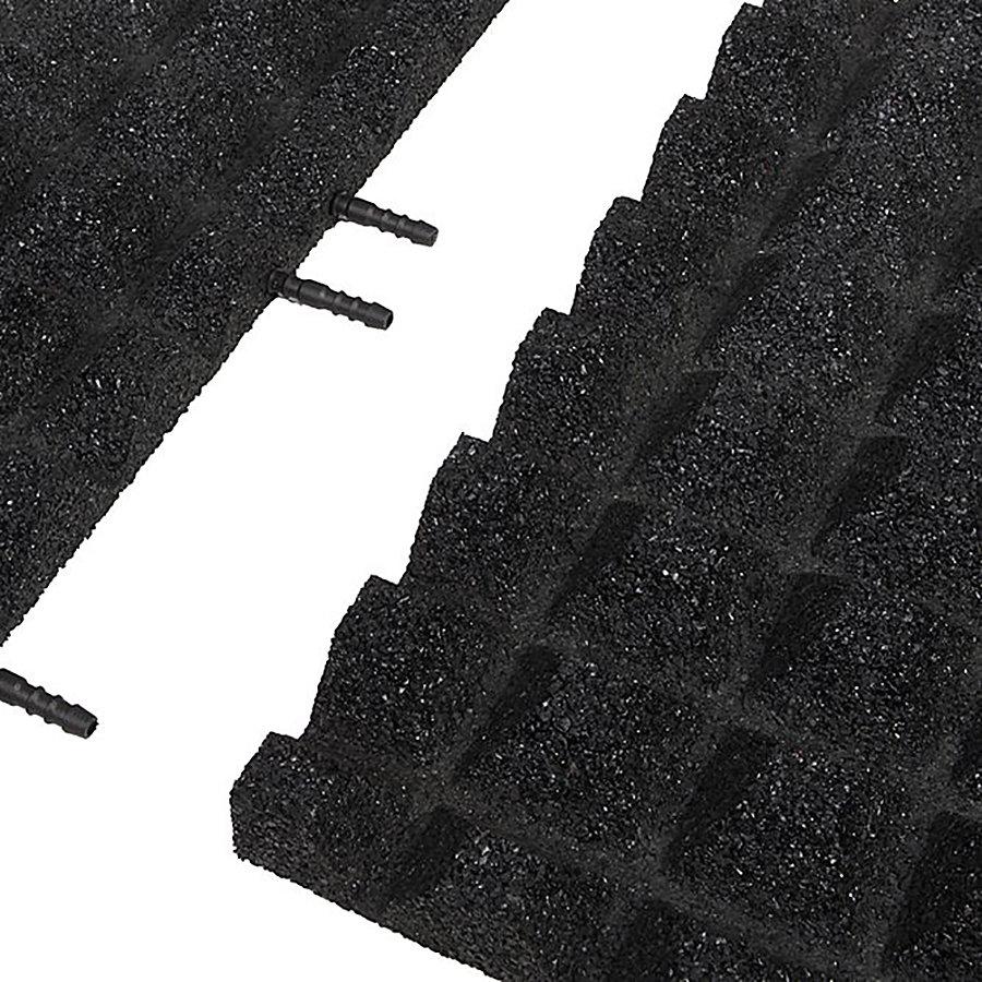 Černá gumová krajová dopadová dlaždice (V40/R28) FLOMA - délka 50 cm, šířka 25 cm a výška 4 cm