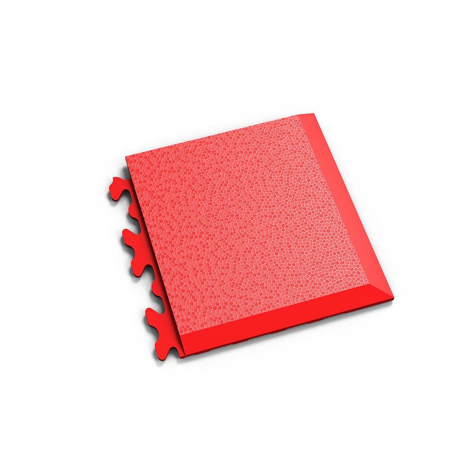 """Červený vinylový plastový rohový nájezd """"typ D"""" Invisible 2039 (hadí kůže), Fortelock - délka 14,5 cm, šířka 14,5 cm a výška 0,67 cm"""
