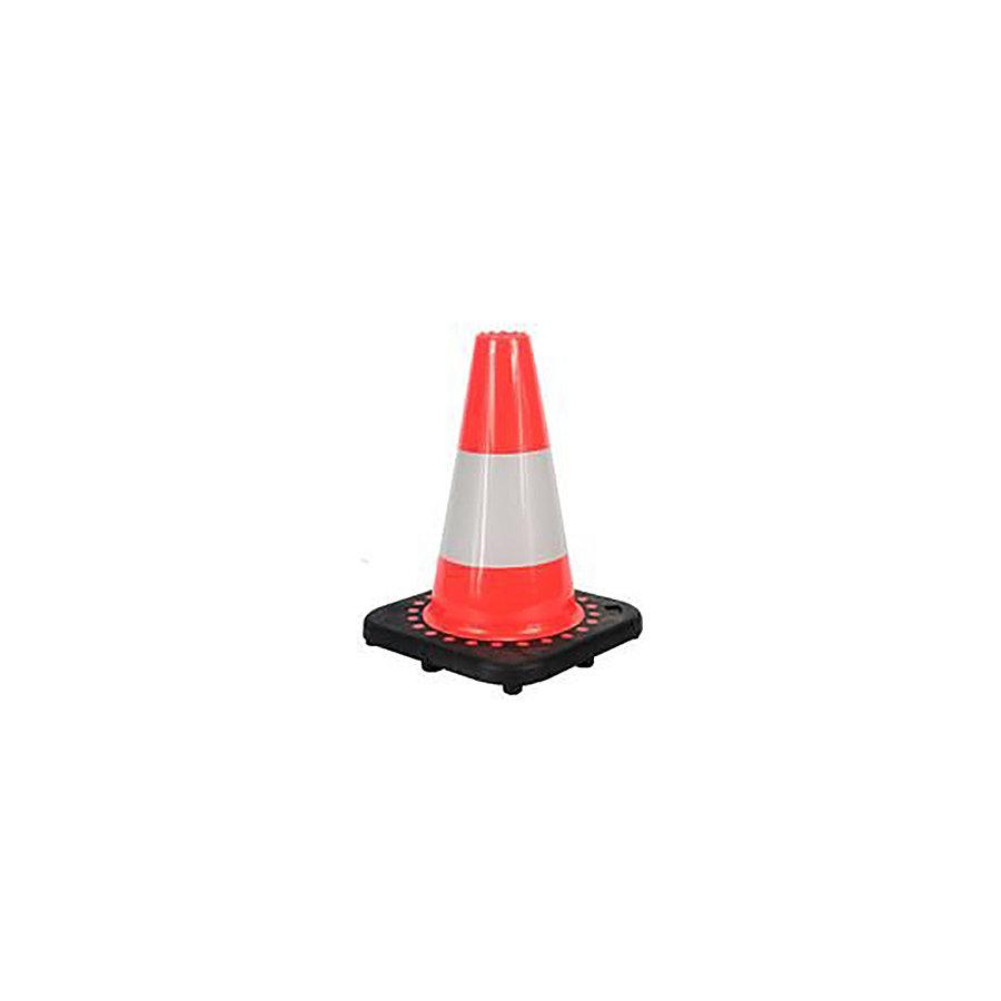 Plastový (PVC) reflexní dopravní kužel s gumovým podstavcem - šířka 20 cm a výška 30 cm