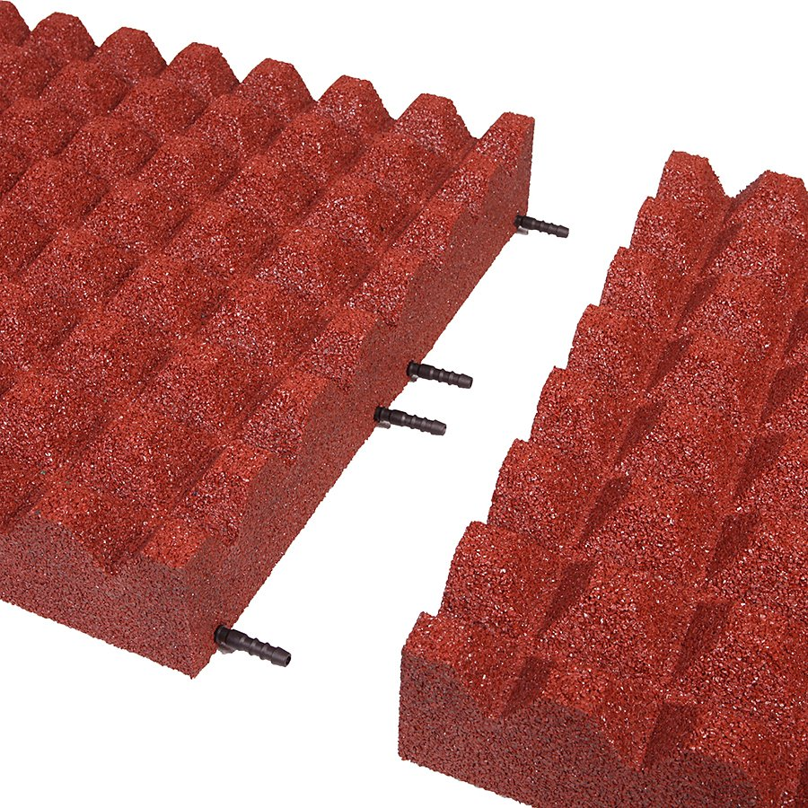 Červená gumová dopadová dlaždice (V90/R28) FLOMA - délka 50 cm, šířka 50 cm a výška 9 cm