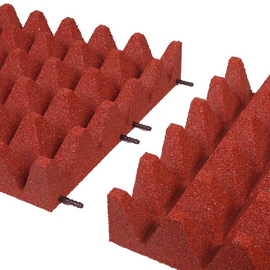 Červená gumová dlaždice (V100/R75) - délka 50 cm, šířka 50 cm a výška 10 cm