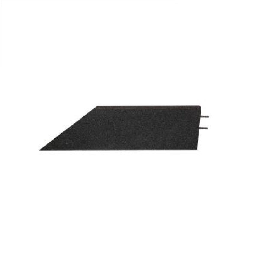 Černý pravý nájezd (roh) pro gumové dlaždice - délka 75 cm, šířka 30 cm a výška 4 cm
