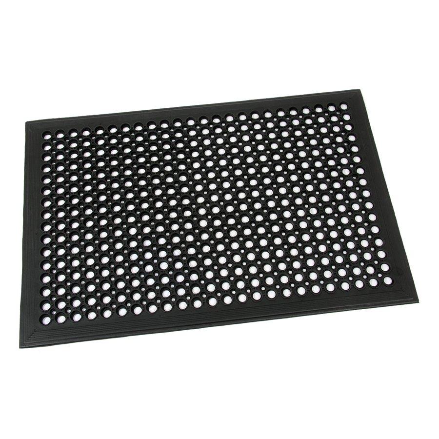 Černá gumová průmyslová protiúnavová protiskluzová olejivzdorná rohož (75% nitrilová pryž) Workmate, FLOMA - délka 60 cm, šířka 90 cm a výška 1,4 cm